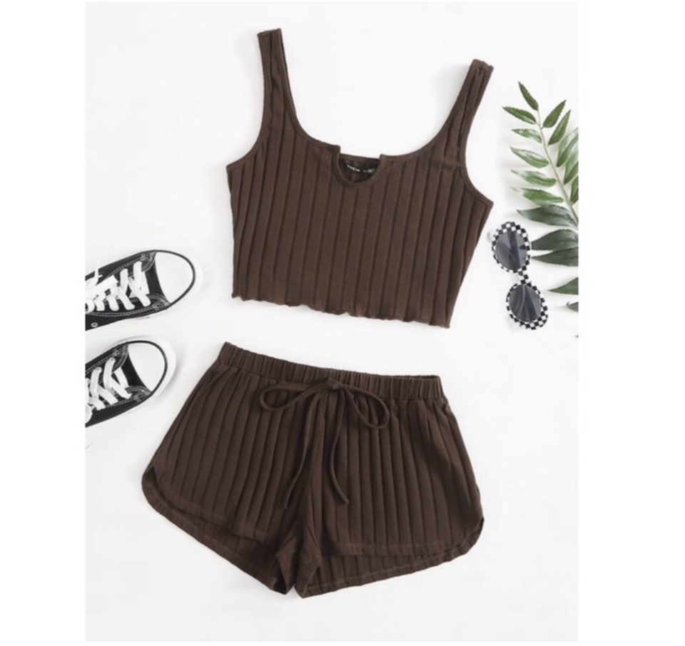Maggie Rib-Knit Tank Top and Shorts. (PHOTO: Shopee Philippines)