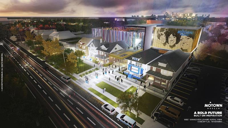 """This artist rendering provided by Identity shows plans for an expansion of the Motown Museum in Detroit that will include interactive exhibits, a performance theater and recording studios. The museum announced Monday, Oct. 17, 2016, it is planning the expansion that will be designed and built around the existing museum, which includes the Motown studio with its """"Hitsville U.S.A."""" facade. (Motown Museum/Identity via AP)"""