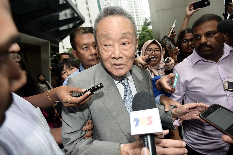 Robert Kuok remains at the top of the list with a net worth of US$12.2 billion. — Picture by Mukhriz Hazim