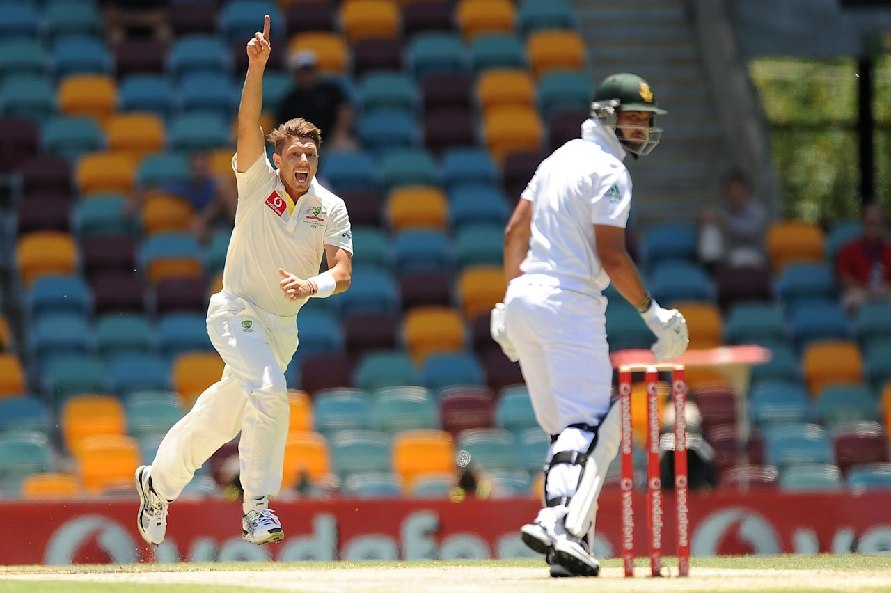 BRISBANE, AUSTRALIA - NOVEMBER 13:  James Pattinson of Australia celebrates the wicket of Alviro Petersen of South Africa during day five of the First Test match between Australia and South Africa at The Gabba on November 13, 2012 in Brisbane, Australia.  (Photo by Matt Roberts/Getty Images)