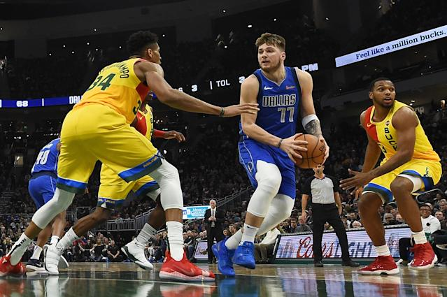 """<a class=""""link rapid-noclick-resp"""" href=""""/nba/players/6014/"""" data-ylk=""""slk:Luka Doncic"""">Luka Doncic</a> and <a class=""""link rapid-noclick-resp"""" href=""""/nba/players/5185/"""" data-ylk=""""slk:Giannis Antetokounmpo"""">Giannis Antetokounmpo</a> would be All-Star captains based on the first round of fan voting. (Stacy Revere/Getty Images)"""