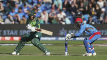 South Africa's Quinton de Kock in action against Afghanistan during the ICC Cricket World Cup group stage match at The Cardiff Wales Stadium in Cardiff, Wales, Saturday June 15, 2019. (David Davies/PA via AP)