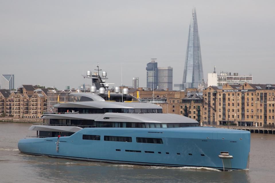<p>The Aviva superyacht on the Thames in July. (Rex) </p>