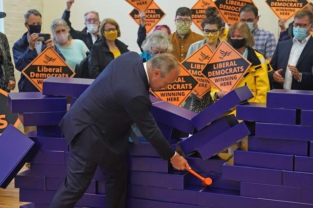 Sir Ed Davey celebrates the Lib Dems' success in the Chesham and Amersham by-election