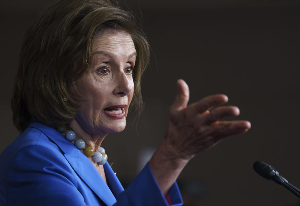Speaker of the House Nancy Pelosi, D-Calif., meets with reporters at the Capitol in Washington, Tuesday, Oct. 12, 2021. (AP Photo/J. Scott Applewhite)