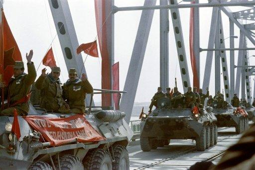 Red Army soldiers cross the Amu Darya river into Uzbekistan in 1989 during the Soviet withdrawal from Afghanistan