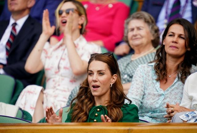 Kate reacting as she watches a match in 2019 (Adam Davy/PA)