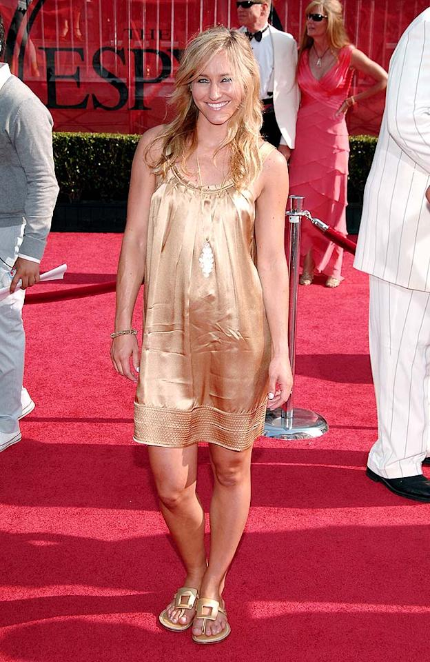 "Snowboarder Gretchen Bleiler looks washed out in her wrinkled mess of a cocktail dress. John Shearer/<a href=""http://www.wireimage.com"" target=""new"">WireImage.com</a> - July 16, 2008"