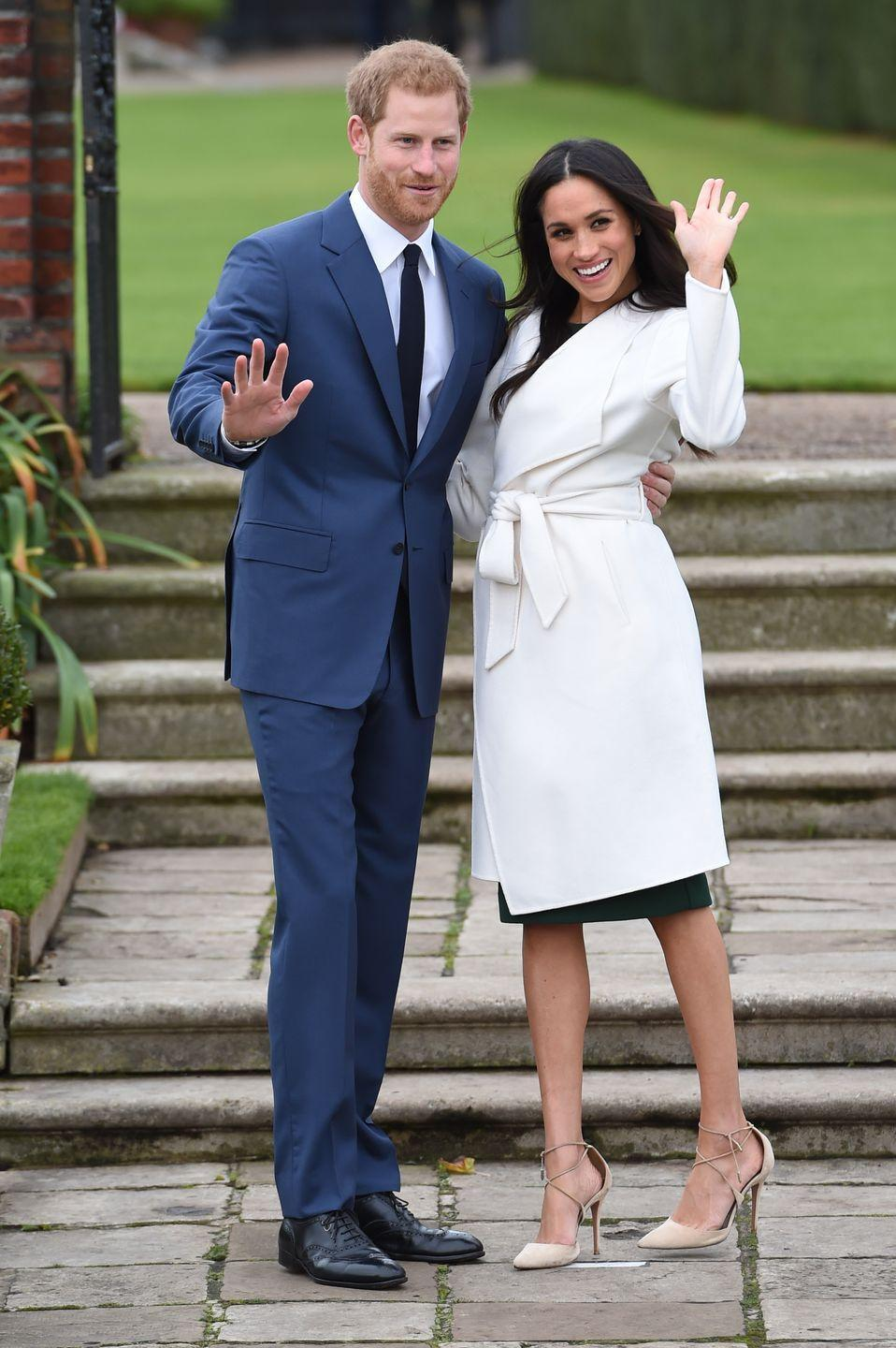 <p>According to fashion expert Harriet Davey, going up a shoe size is a style hack employed by many celebrities. It looks like Meghan used this trick in this instance, as there's lots of room behind her heel in these strappy Aquazzura pumps.</p>
