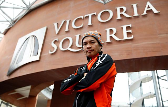 Boxing - Carl Frampton & Nonito Donaire Public Work-Outs - Victoria Square Shopping Centre, Belfast, Britain - April 19, 2018 Nonito Donaire poses during the public work out Action Images via Reuters/Jason Cairnduff