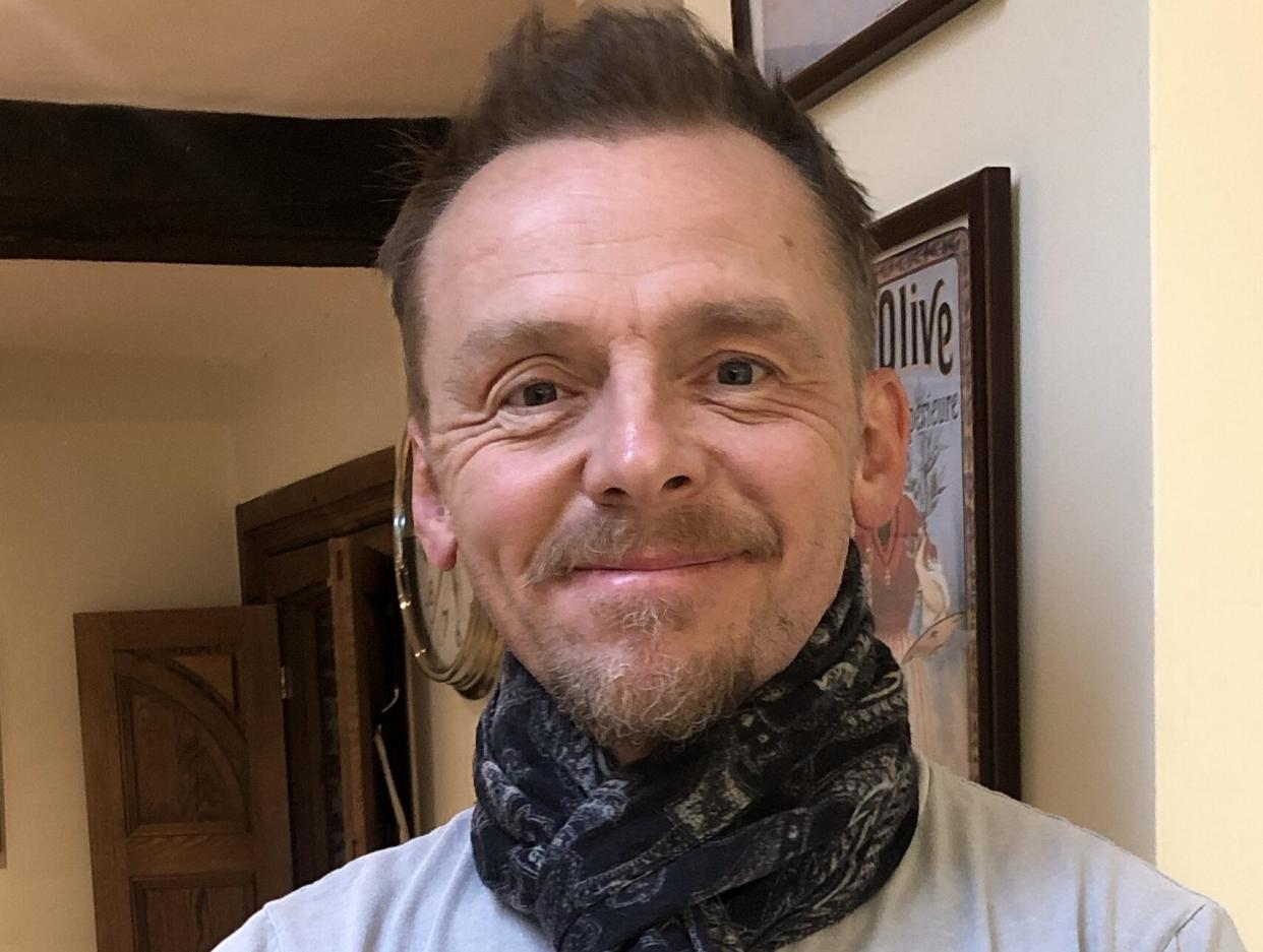 Simon Pegg is auctioning off a scarf