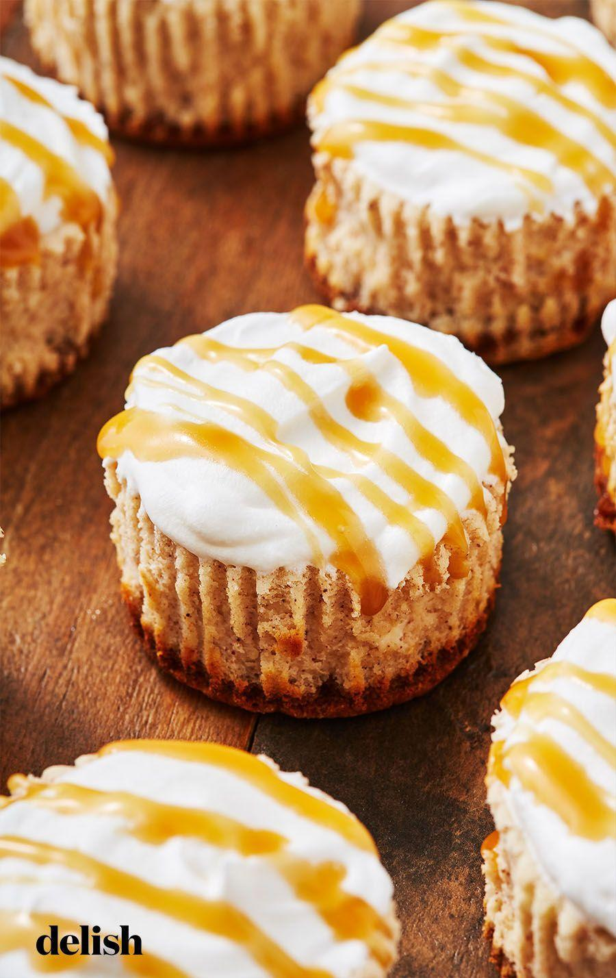 """<p>The cutest dessert to bring to the holiday party. </p><p>Get the recipe from <a href=""""https://www.delish.com/cooking/recipe-ideas/recipes/a50559/mini-eggnog-cheesecakes-recipe/"""" rel=""""nofollow noopener"""" target=""""_blank"""" data-ylk=""""slk:Delish"""" class=""""link rapid-noclick-resp"""">Delish</a>. </p>"""