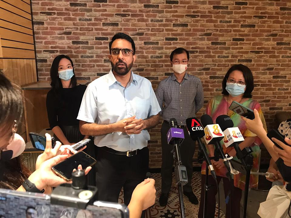 Workers' Party chief Pritam Singh addresses reporters after the party's central executive committee elections at Huone Singapore on Sunday, 27 December 2020. (PHOTO: Nick Tan for Yahoo News Singapore)