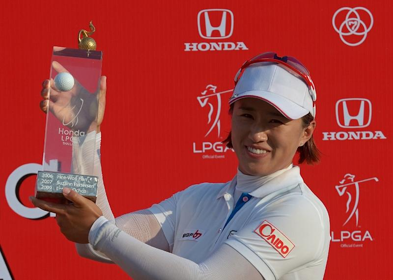 South Korea's Amy Yang won the Honda LPGA Thailand 2015 golf tournament in Pattaya on March 1, 2015, finishing at 15 under-par for a total of 273 (AFP Photo/Pornchai Kittiwongsakul)
