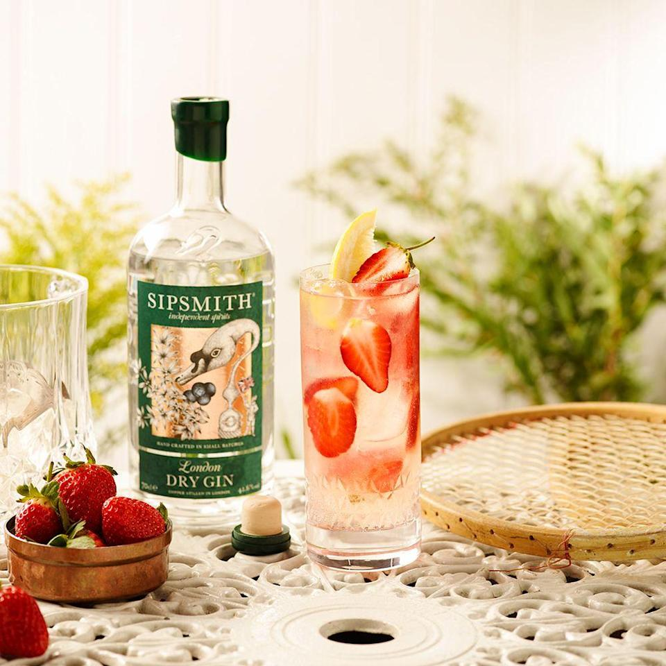 """<p><strong>What you need:</strong></p><p>50ml <a href=""""https://www.amazon.co.uk/Sipsmith-London-Dry-Gin-70/dp/B004EAIWMA/ref=sr_1_1_s_it?s=grocery&ie=UTF8&qid=1523973583&sr=1-1&keywords=sipsmith"""" rel=""""nofollow noopener"""" target=""""_blank"""" data-ylk=""""slk:Sipsmith London Dry"""" class=""""link rapid-noclick-resp"""">Sipsmith London Dry</a></p><p>Juice of half a lemon</p><p>15ml Simple Syrup</p><p>Soda Water</p><p>Strawberries</p><p><strong>Method: </strong></p><p>Combine 50ml of Sipsmith Gin with the juice of half a lemon and 15ml simple syrup in a highball</p><p>Stir, layer with ice and fresh strawberry slices then top with soda water.</p><p>Add straw and garnish with lemon<br></p>"""