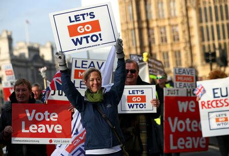 Pro-Brexit demonstrators protest outside the Houses of Parliament, in Westminster, London