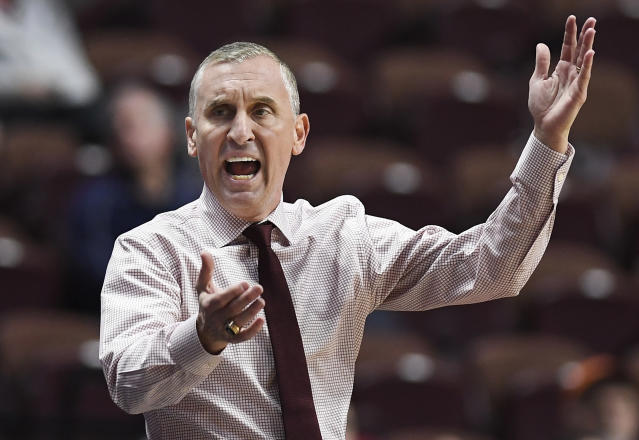 Arizona State head coach Bobby Hurley reacts toward an official during the first half of an NCAA college basketball game against St. John's, Saturday, Nov. 23, 2019, in Uncasville, Conn. (AP Photo/Jessica Hill)