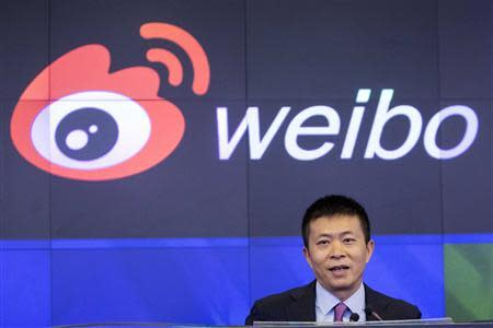 Weibo Corporation Chairman Charles Chao speaks during a visit to the NASDAQ MarketSite in Times Square in celebration of Weibo's initial public offering (IPO) on The NASDAQ Stock Market in New York