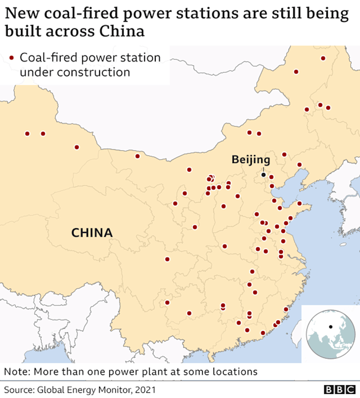 Map showing new coal-fired power stations being built across China