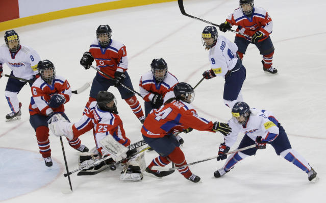 South Korea and North Korea could combine their women's ice hockey teams at the Olympics. (AP Photo)