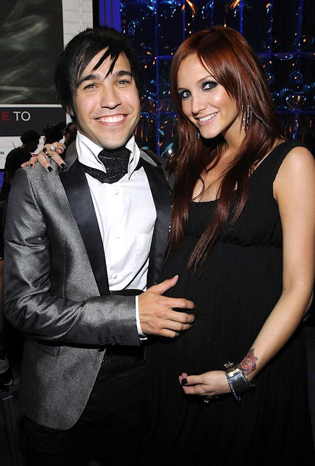"Fall Out Boy's Pete Wentz and Ashlee Simpson tied the knot in an ""Alice in Wonderland""-themed wedding at the Simpson family home on May 28, 2008. Kevin Mazur/<a href=""http://www.wireimage.com"" target=""new"">WireImage.com</a> - September 7, 2008"