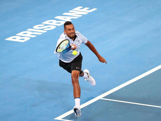 Nick Kyrgios in action at the Brisbane international: Getty