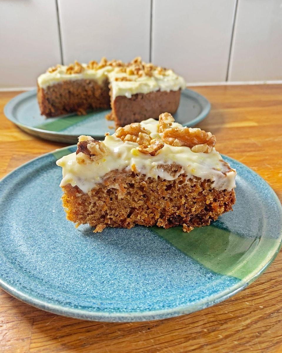 """<p>We absolutely LOVE <a href=""""https://www.delish.com/uk/cooking/recipes/a28784092/carrot-cake-cupcakes-recipe/"""" rel=""""nofollow noopener"""" target=""""_blank"""" data-ylk=""""slk:carrot cake"""" class=""""link rapid-noclick-resp"""">carrot cake</a>, and this <a href=""""https://www.delish.com/uk/food-news/a30469430/slow-cooker-hacks-tricks-tips/"""" rel=""""nofollow noopener"""" target=""""_blank"""" data-ylk=""""slk:slow cooker version"""" class=""""link rapid-noclick-resp"""">slow cooker version</a> is an absolute game-changer. You won't have to worry about over-baking this little guy. He's a bit denser and squidgier than a regular carrot cake, and that is no bad thing. </p><p>Get the <a href=""""https://www.delish.com/uk/cooking/a32063282/slow-cooker-carrot-cake/"""" rel=""""nofollow noopener"""" target=""""_blank"""" data-ylk=""""slk:Slow Cooker Carrot Cake"""" class=""""link rapid-noclick-resp"""">Slow Cooker Carrot Cake</a> recipe. </p>"""