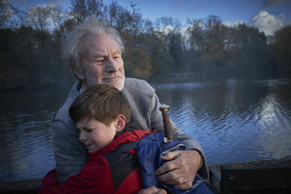 Patrick Stewart and Louis Ashbourne Serkis in a scene from <em>The Kid Who Would Be King.</em> (Photo: Kerry Brown/20th Century Fox via AP)