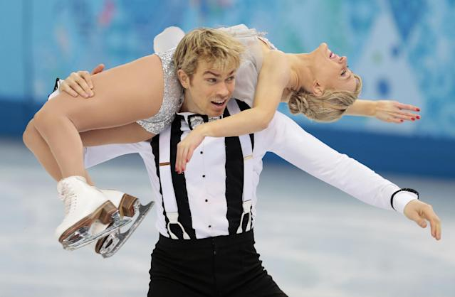 Penny Coomes and Nicholas Buckland of Britain compete in the team ice dance short dance figure skating competition at the Iceberg Skating Palace during the 2014 Winter Olympics, Saturday, Feb. 8, 2014, in Sochi, Russia. (AP Photo/Ivan Sekretarev)