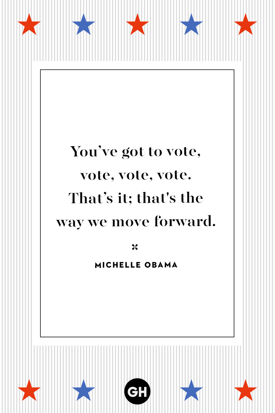<p>You've got to vote, vote, vote, vote. That's it; that's the way we move forward.</p>