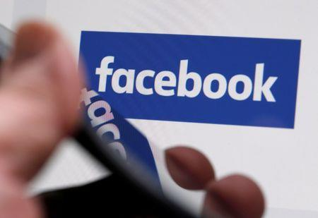The Facebook logo is displayed on their website in an illustration photo taken in Bordeaux