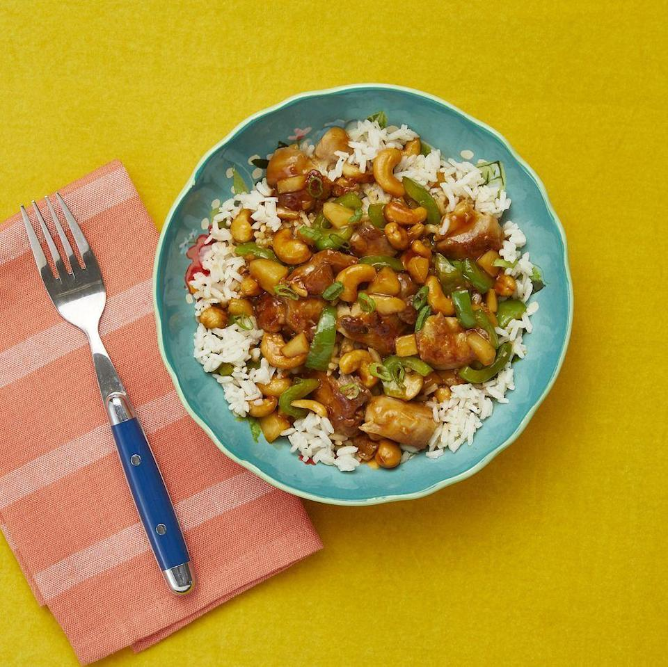"<p>This Chinese-inspired dish of juicy chicken in a spicy sauce with rich, crunchy cashews is pure comfort food.</p><p><em><a href=""https://www.thepioneerwoman.com/food-cooking/recipes/a84800/cashew-chicken/"" rel=""nofollow noopener"" target=""_blank"" data-ylk=""slk:Get the recipe from The Pioneer Woman »"" class=""link rapid-noclick-resp"">Get the recipe from The Pioneer Woman »</a></em></p><p><strong>RELATED: </strong><a href=""https://www.goodhousekeeping.com/food-recipes/healthy/g978/comfort-food/"" rel=""nofollow noopener"" target=""_blank"" data-ylk=""slk:75 Comfort Food Dishes That Are Perfect for Any Time of Year"" class=""link rapid-noclick-resp"">75 Comfort Food Dishes That Are Perfect for Any Time of Year</a><br></p>"