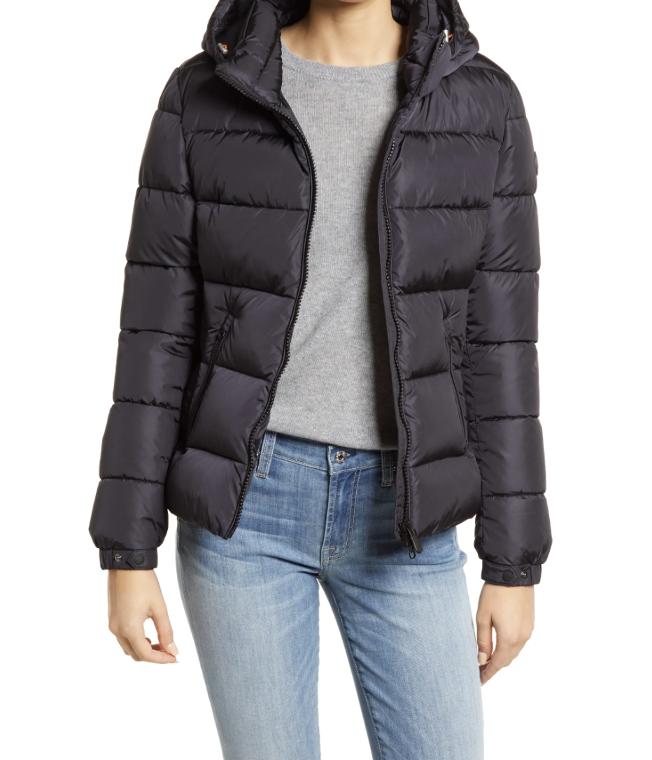 Save the Duck Tess Hooded Water Repellent Puffer Jacket in Black (Photo via Nordstrom)