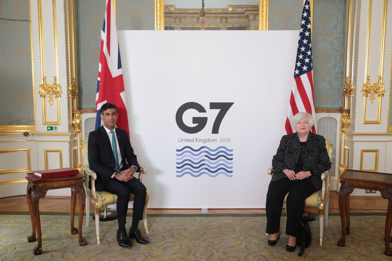 Britain's Chancellor of the Exchequer meets with U.S. Treasury Secretary Janet Yellen, in London