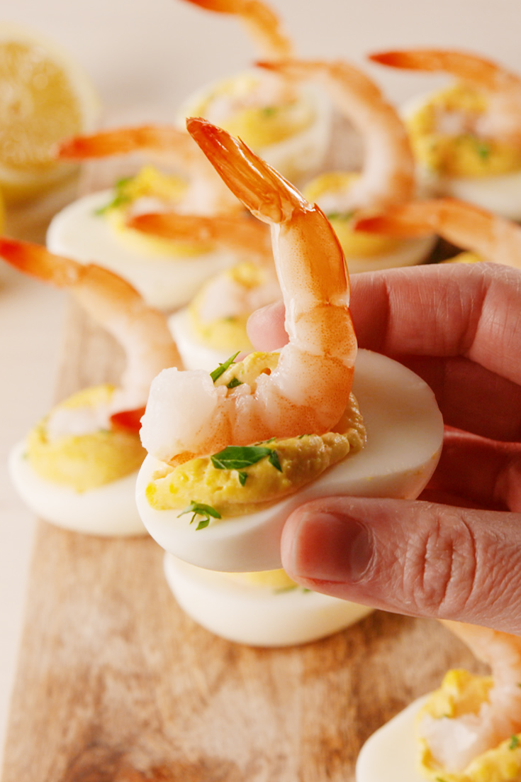 """<p>Two classic party apps in one. </p><p>Get the <a href=""""https://www.delish.com/uk/cooking/recipes/a28841472/shrimp-cocktail-deviled-eggs-recipe/"""" rel=""""nofollow noopener"""" target=""""_blank"""" data-ylk=""""slk:Prawn Cocktail Devilled Eggs"""" class=""""link rapid-noclick-resp"""">Prawn Cocktail Devilled Eggs</a> recipe.</p>"""