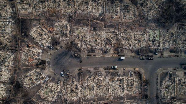 PHOTO: An aerial view of homes burned by wildfire in the Coffey Park neighborhood of Santa Rosa, Calif., Oct. 10, 2017. Fires charred countless acres in California's wine country. (Josh Haner/The New York Times via Redux)