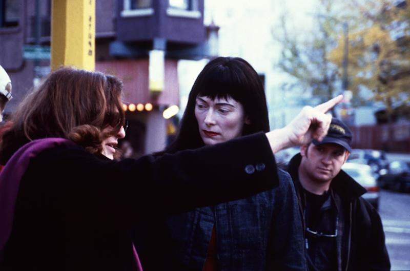 Lynn Hershman Leeson directing Tilda Swinton behind the scenes of Teknolust, 1999
