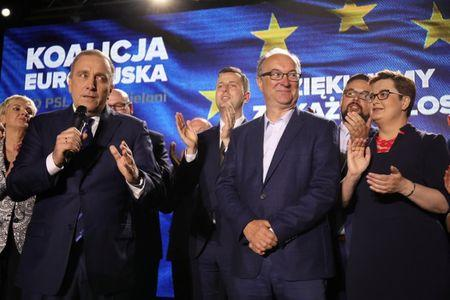 Grzegorz Schetyna, leader of Civic Platform (PO) party, speaks following the release of the first election results of the European Parliamentary elections in Warsaw, Poland May 26, 2019. Maciek Jazwiecki/Agencja Gazeta/via REUTERS