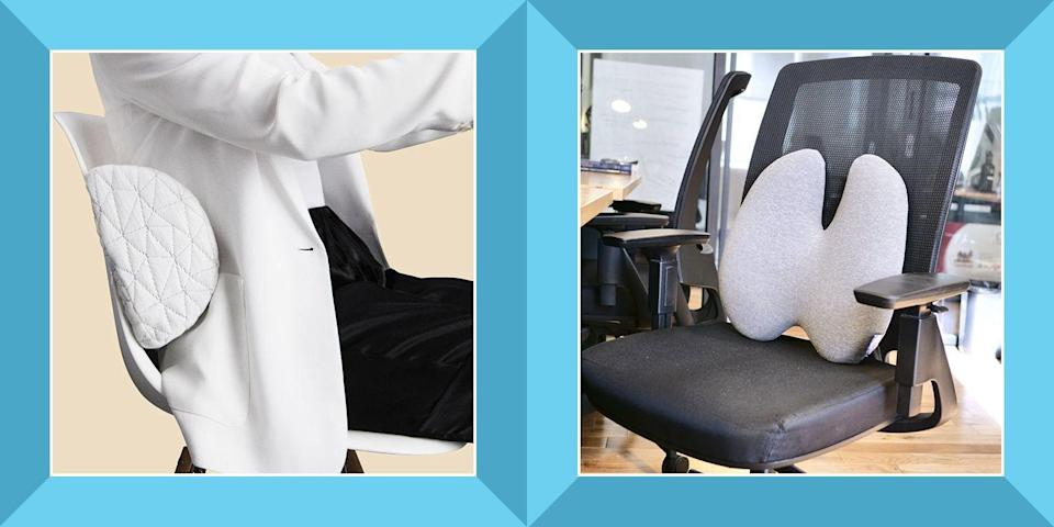 """<p>Whether you can't help the aches and pains you feel, or the chair you sit in is the likely culprit, you don't have to suffer through it. Lumbar support pillows are designed to provide the stability that most regular seats just don't offer, along with some extra padded comfort.</p><p>The lumbar section of the spine is located at <a href=""""https://www.hopkinsmedicine.org/health/conditions-and-diseases/lumbar-strain-weight-lifters-back"""" rel=""""nofollow noopener"""" target=""""_blank"""" data-ylk=""""slk:the small of your lower back"""" class=""""link rapid-noclick-resp"""">the small of your lower back</a>, above your tailbone. Using a lumbar support pillow in this area can help to support the lower back and keep the spine in a more neutral alignment so that you are not in a slouched posture for a prolonged period of time. A <a href=""""https://www.ncbi.nlm.nih.gov/pmc/articles/PMC3766244/"""" rel=""""nofollow noopener"""" target=""""_blank"""" data-ylk=""""slk:2013 study"""" class=""""link rapid-noclick-resp"""">2013 study</a> even found that lumbar support pillows greatly improve the pressure on the spine, as opposed to sitting in a non-ergonomic chair. </p><p>You don't have to have a medical condition to use one, although you should always follow your healthcare provider's recommendation if they've given one to you.</p><h3 class=""""body-h3"""">The Best Lumbar Support Pillows</h3><ul><li><strong>Covers the Entire Back: </strong><a href=""""https://www.amazon.com/dp/B0839BG29X?tag=syn-yahoo-20&ascsubtag=%5Bartid%7C2089.g.37610261%5Bsrc%7Cyahoo-us"""" rel=""""nofollow noopener"""" target=""""_blank"""" data-ylk=""""slk:Niceeday Lumbar Support Pillow"""" class=""""link rapid-noclick-resp"""">Niceeday Lumbar Support Pillow</a></li><li><strong><strong>Firm Roll Shape: </strong></strong><a href=""""https://www.amazon.com/dp/B000H47GCO?tag=syn-yahoo-20&ascsubtag=%5Bartid%7C2089.g.37610261%5Bsrc%7Cyahoo-us"""" rel=""""nofollow noopener"""" target=""""_blank"""" data-ylk=""""slk:OPTP Original McKenzie Lumbar Roll"""" class=""""link rapid-noclick-resp"""">OPTP Original McKenzie Lumbar Roll</"""