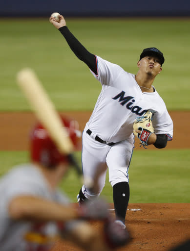 Miami Marlins' Jordan Yamamoto pitches to St. Louis Cardinals' Paul DeJong during the first inning of a baseball game Wednesday, June 12, 2019, in Miami. (AP Photo/Wilfredo Lee)