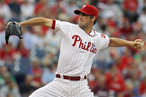 Philadelphia Phillies starting pitcher Cole Hamels throws against the Atlanta Braves in the first inning of a baseball game, Tuesday, Aug. 7, 2012, in Philadelphia. (AP Photo/H. Rumph Jr)