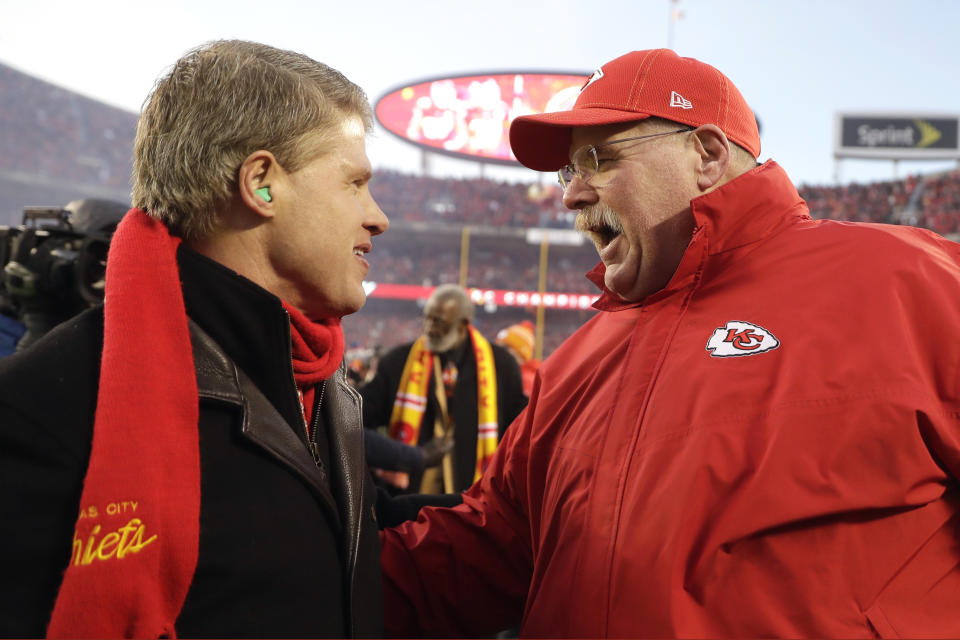 Kansas City Chiefs head coach Andy Reid, right, and Kansas City Chiefs part owner, Chairman and CEO Clark Hunt celebrate after the NFL AFC Championship football game against the Tennessee Titans Sunday, Jan. 19, 2020, in Kansas City, MO. The Chiefs won 35-24 to advance to Super Bowl 54. (AP Photo/Jeff Roberson)