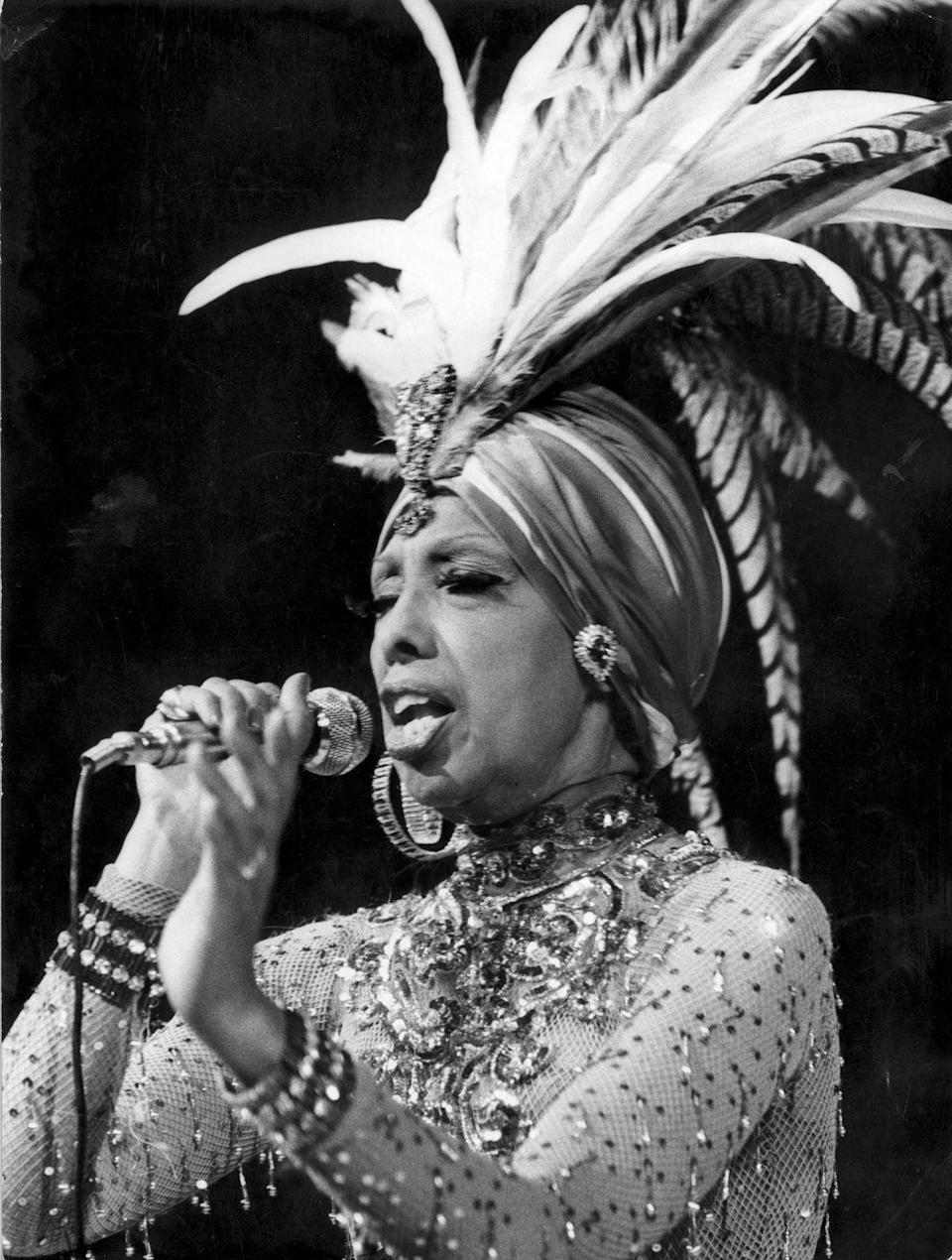 <p>Baker, who was recognized by the NAACP for her work for civil rights advancement, was one of the only female speakers in Washington, D.C. for the March on Washington for Jobs and Freedom. She performs here in yet another stunning turban and gem-spangled costume. </p>