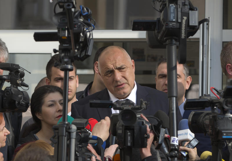 Bulgarian ex-Premier Boiko Borisov, leader of the center-right GERB party, speaks to media after voting, in Sofia, Bulgaria, Sunday, March 26, 2017. Bulgarians are heading to the polls for the third time in four years in a snap vote that could tilt the European Union's poorest member country closer to Russia as surveys put the center-right GERB party neck-and-neck with the Socialist Party. (AP Photo/Vadim Ghirda)