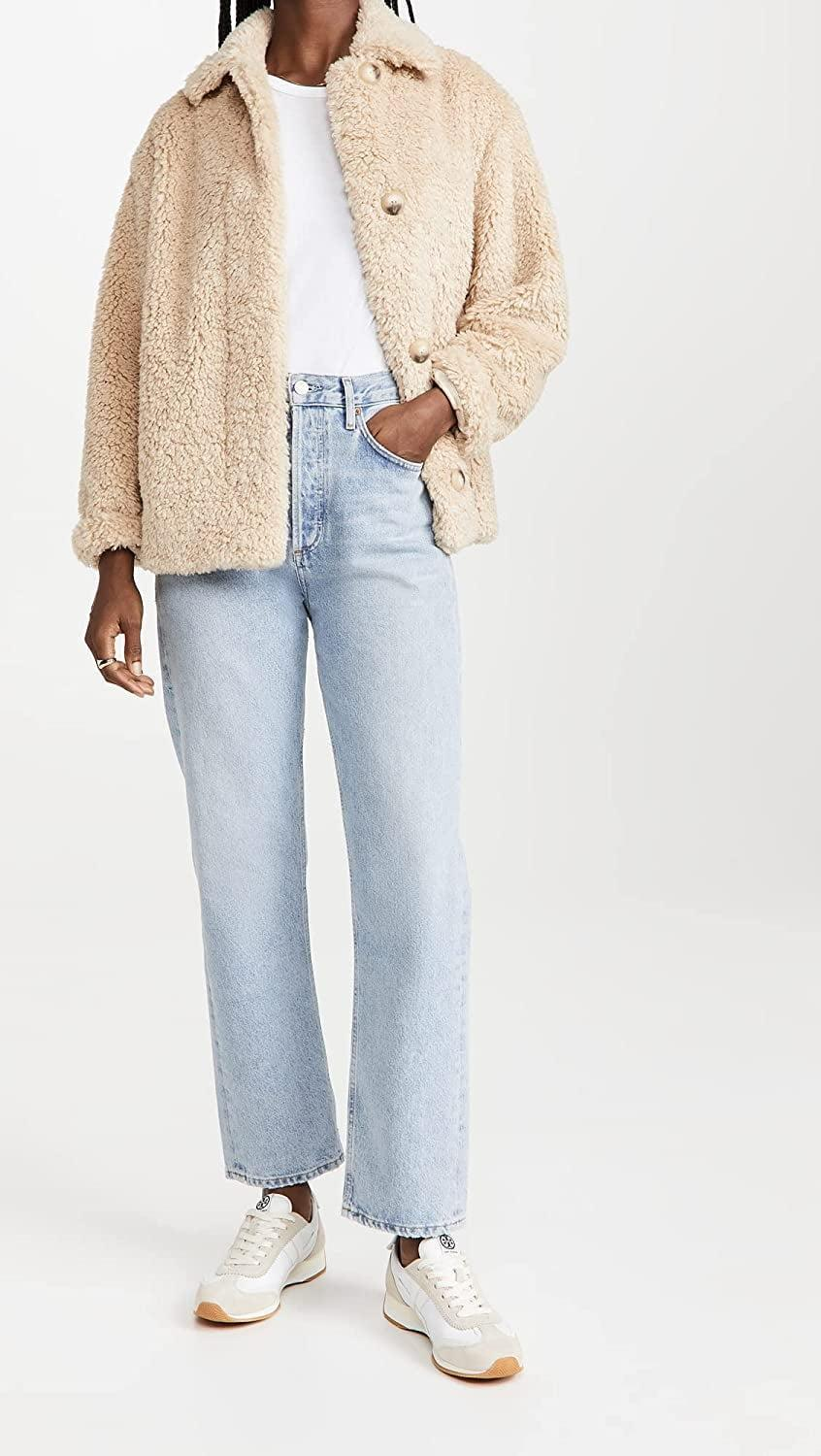 <p>We want to cuddle up in this luxe <span>Vince Textured Faux Fur Jacket</span> ($445). It's comfortable and cute, and looks great with jeans and a t-shirt.</p>