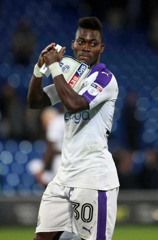CARDIFF, WALES – APRIL 28: Christian Atsu of Newcastle United after the final whistle of the Sky Bet Championship match between Cardiff City and Newcastle United at the Cardiff City Stadium on April 28, 2017 in Cardiff, Wales. (Photo by Athena Pictures/Getty Images)