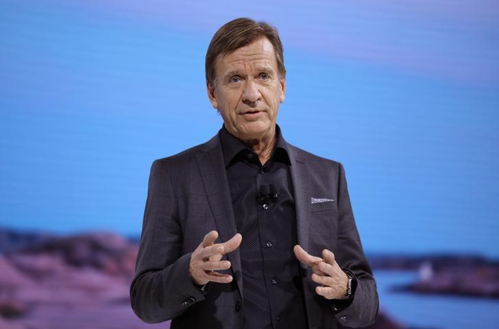 Volvo's Samuelsson speaks at the Los Angeles Auto Show in Los Angeles