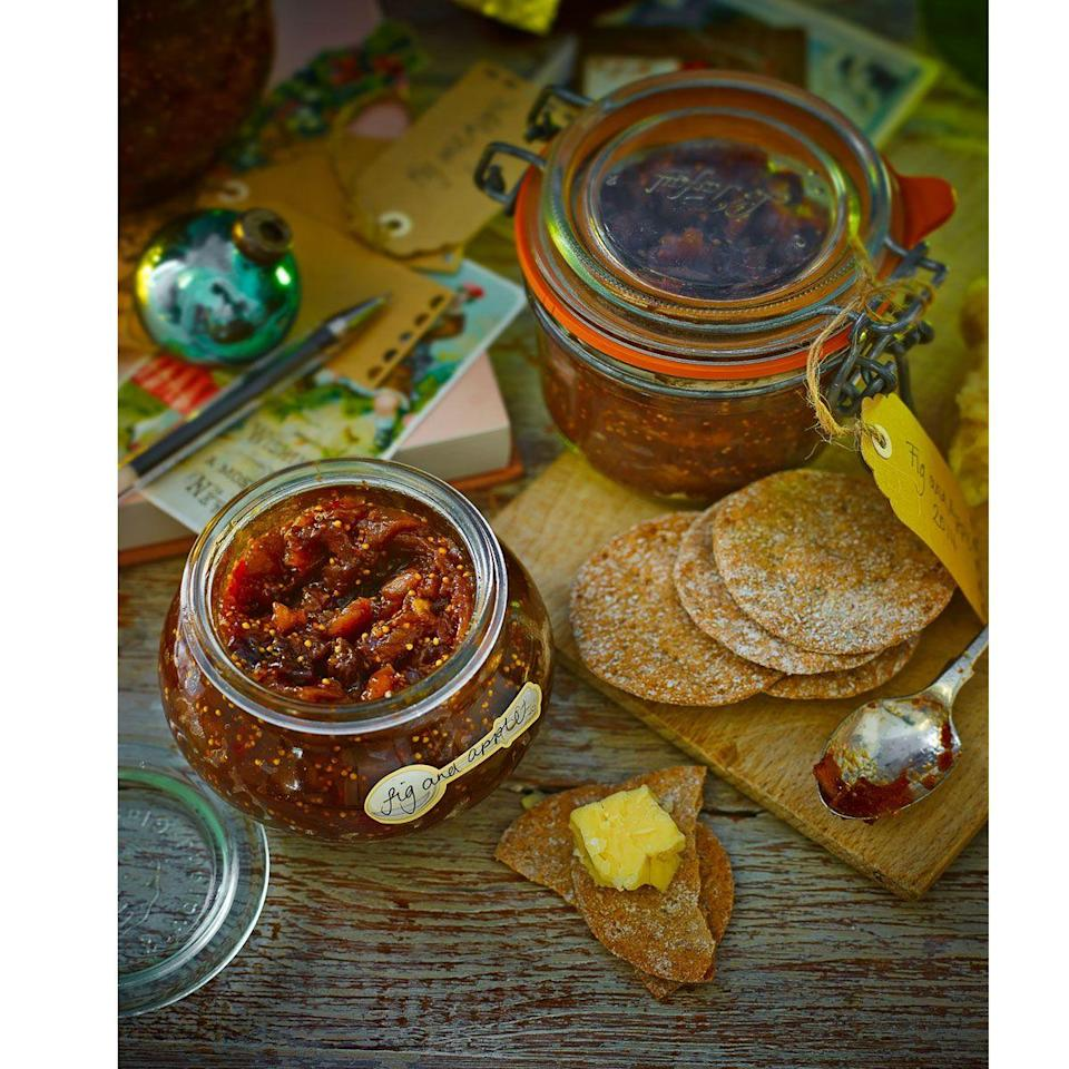 """<p>A great one to make in bulk and in advance, package these into pretty jars to give to friends and family.</p><p><strong>Recipe: <a href=""""https://www.goodhousekeeping.com/uk/food/recipes/fig-and-apple-chutney"""" rel=""""nofollow noopener"""" target=""""_blank"""" data-ylk=""""slk:Fig and apple chutney"""" class=""""link rapid-noclick-resp"""">Fig and apple chutney</a></strong><br></p><p><br><br></p>"""