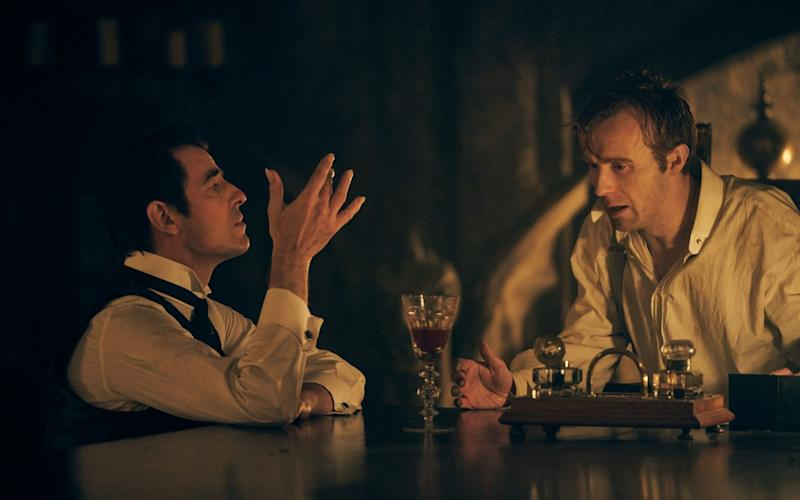 Dracula, Claes Bang, with Jonathan Harker, played by John Heffernan, in the new series.  - WARNING: Use of this copyright image is subject to the terms of use of BBC Pictures' Digital Picture