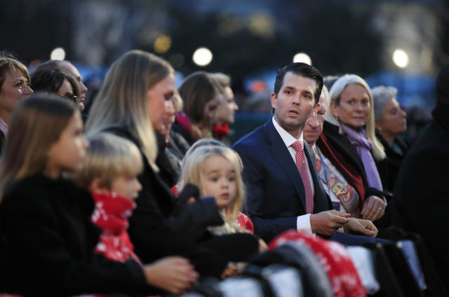 <p>Donald Trump Jr., his wife Vanessa Trump, and their family watch performances during the National Christmas Tree lighting ceremony at the Ellipse near the White House in Washington, Thursday, Nov. 30, 2017. (Photo: Manuel Balce Ceneta/AP) </p>